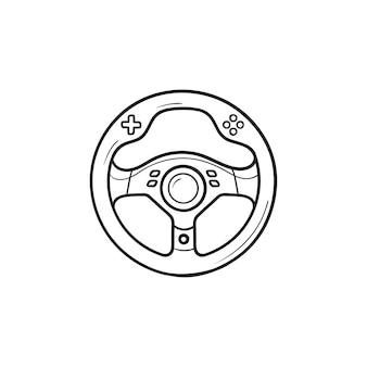 게임 스티어링 휠 손으로 그린 개요 낙서 아이콘. 게임 장치, 레이싱 게임 액세서리 개념. 인쇄, 웹, 모바일 및 흰색 배경에 인포 그래픽에 대한 벡터 스케치 그림.