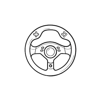 Gaming steering wheel hand drawn outline doodle icon. gaming device, racing game accessory concept. vector sketch illustration for print, web, mobile and infographics on white background.