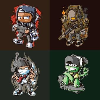 Gaming street artwork футболка дизайн упаковки