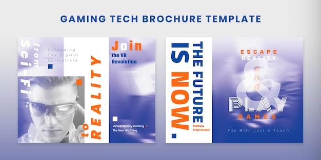 Gaming tech brochure vector template set