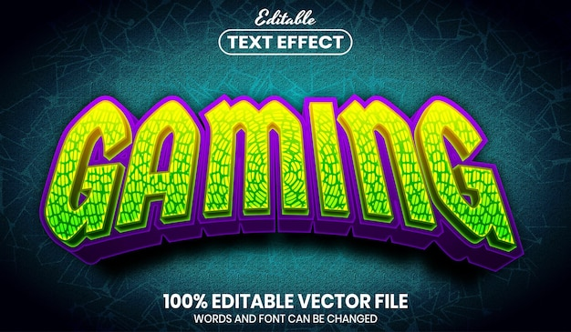 Gaming text, font style editable text effect