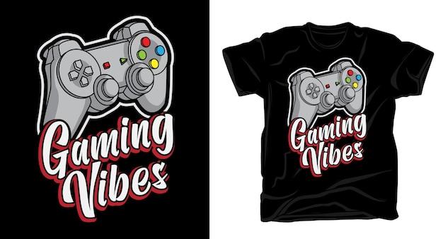 Типографика игровых флюидов с дизайном футболки с контроллером