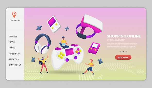 Gaming on video game hardware in shopping online concept. vector concept illustration.