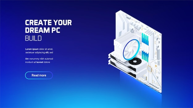 Gaming and workstation computer components set isometric illustration