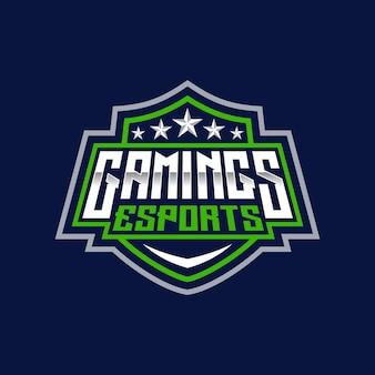 Gamings esport text and sport logo emblem