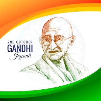 Gandhi jayanti holiday celebration in india on the 2nd october with wave