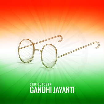 Gandhi jayanti with sketch spectacles indian color theme