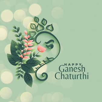 Ganesh chaturthi festival greeting in flower style background