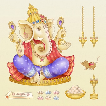 Ganesh chaturthi festival symbol collections on beige background