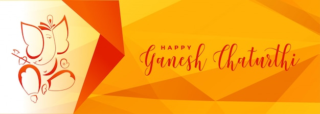 Ganesh chaturthi festival yellow banner in geometric style
