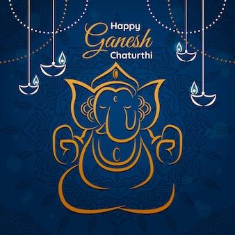 Ganesh chaturthi illustration with elephant and greeting