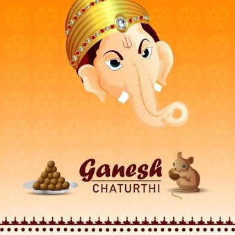 Ganesh chaturthi indian festival celebration greeting card with illustration of lord ganesha