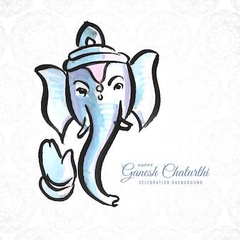 ガネーシュ・チャトゥルティが水彩デザインのグリーティングカードを希望