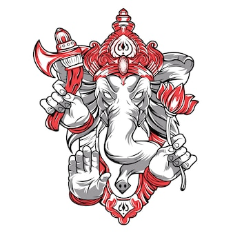 Ganesh is a god. the head of an elephant.