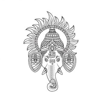Ganesh ji face encircled with suraj ji illustration