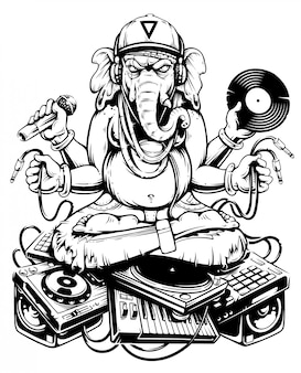 Ганеша диджей сидит на электронном музыкальном материале