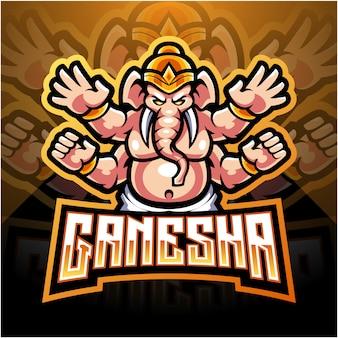 Ganesha esport талисман дизайн логотипа