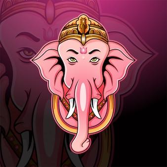 Ganesha head esport mascot logo