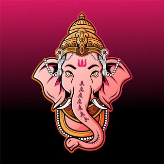 Ganesha head mascot logo
