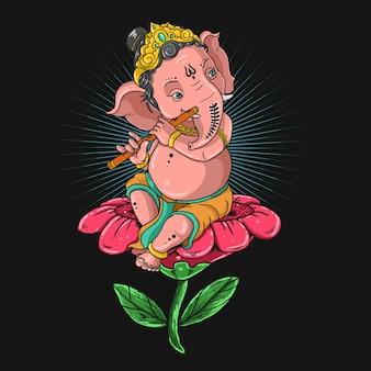 Ganesha playing flute illustration