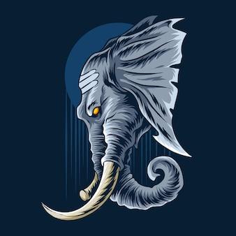 코끼리 코끼리 머리는 매우 장엄하고 남자 답게 보입니다.
