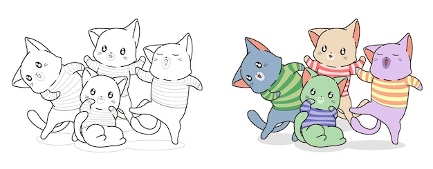Gang of cat cartoon coloring page for kids
