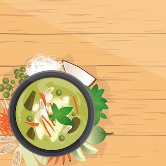 Gang kiew wan ,thai green curry in coconut milk
