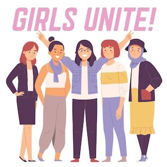 Банда женщины девушки объединяют феминизм счастливы вместе улыбка