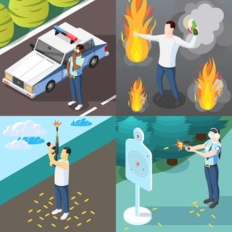 Bande e polizia 2x2 concetto di design set di manifestante con bottiglia di cocktail molotov e formazione di poliziotti nel tiro al bersaglio isometrico