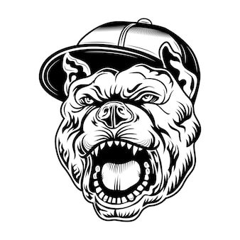Gangsta bulldog vector illustration. head of aggressive dog in gangsters cap