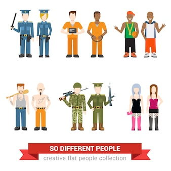 Gangsta drug dealer prostitute hooker outlaw robber bandit military army officer prisoner jailbird policeman people flat avatar user profile   illustration set. creative people collection.