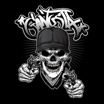 Gangsta skull illistration