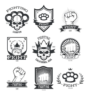 Gangsta tattoo flat emblems set. street gang member and gangster patches with skull, gun, fist or knuckle-duster isolated vector illustration collection. fighting club and power