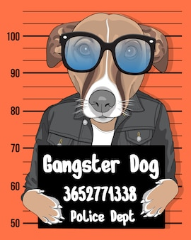 Gangster dog, hand drawn cute dog with sunglasses illustration
