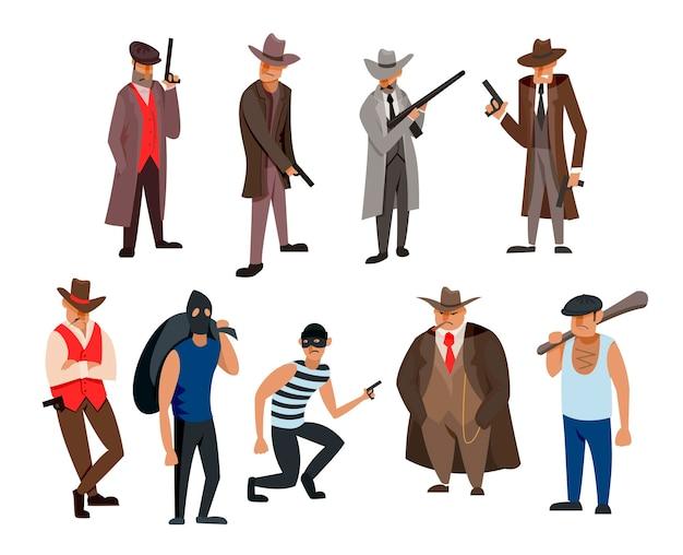 Gangster and mafia cartoon characters illustrations set