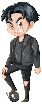白い背景の上のギャングの男の漫画のキャラクター