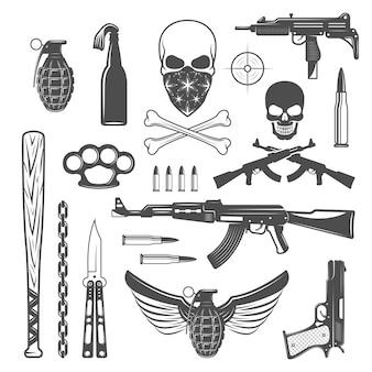 Набор гангстерских монохромных элементов