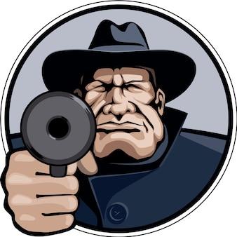 Gangster pointing gun illustration