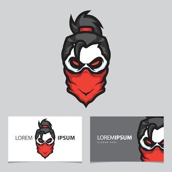 Логотип талисмана черепа гангстера