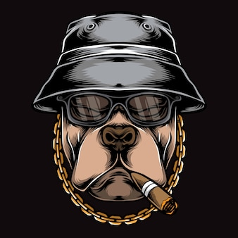 Gangster smoking pitbull  logo