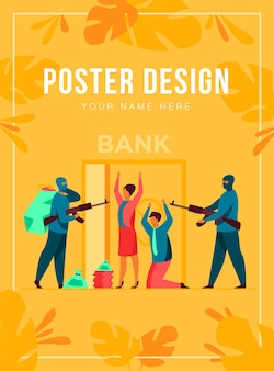 Gangsters with gun robbing bank poster template