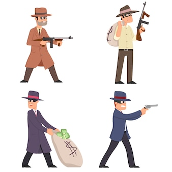 Gangsters with weapons in suits, masks and hats.