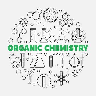 Ganic химия круглая иллюстрация в стиле тонкой линии