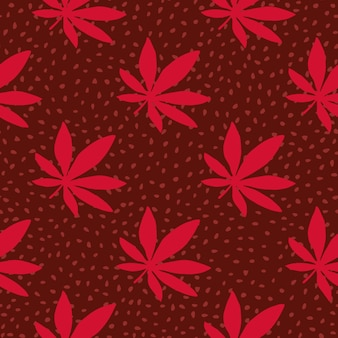 ガンジャ手描かれたシームレスパターン。ドットと赤い大麻葉のあずき色の背景。