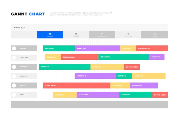 Gantt chart in flat design