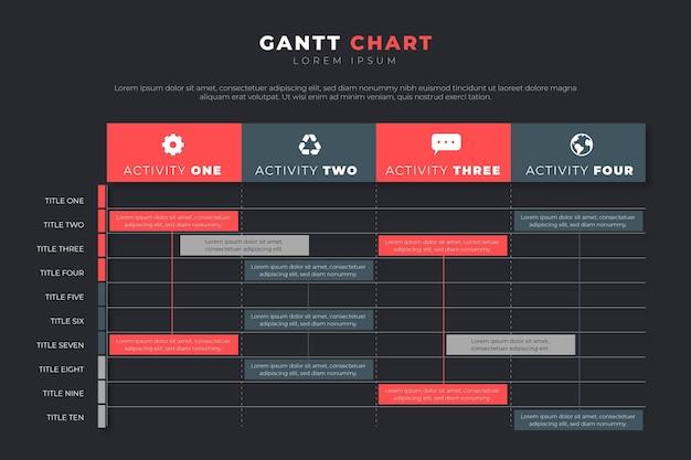 Gantt chart infographic concept