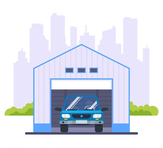 Garage for a car against the backdrop of the city. flat   illustration.
