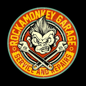 Garage design concept with rockabilly monkey illustration