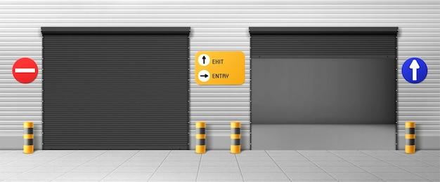 차고 문, 롤러 셔터 및 표지판이있는 상업용 격납고 입구. 창고 닫기, 열린 상자, 자동차 주차 또는 임대를위한 현실적인 3d 스토리지, 금속 출입구가있는 수리 서비스를위한 방