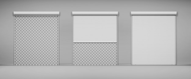 Garage doors, hangar entrance with roller shutters